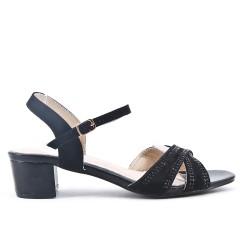 Sandale noire ornée de strass en grande taille