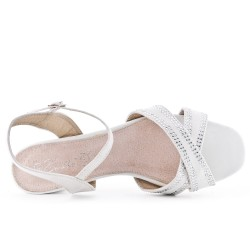 White sandal with rhinestones in large size