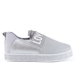Gray sneaker with sequined sole