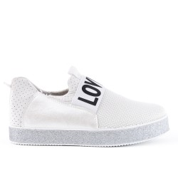 White basket with sequined sole