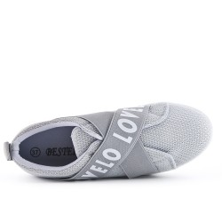 Gray sneaker with elastic band
