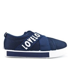 Blue sneaker with elastic band