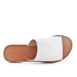 White faux suede flap