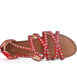 Red flat sandal in large size