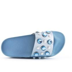 Claquette bleu ornée de strass