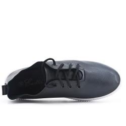 Basket noire à lacet en simili cuir