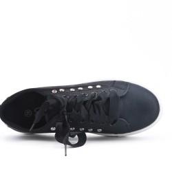 Basket noire à lacet ruban en simili cuir