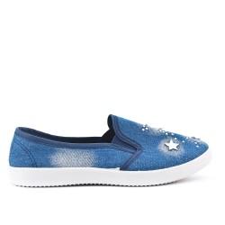 Tennis bleu foncée en jean à motif étoile