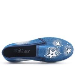 Tennis bleu foncé en jean à motif étoile