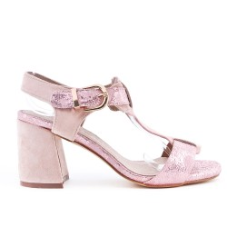 Sandale rose à gros talon
