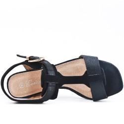 Sandale noire à gros talon