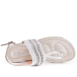 Sandale blanche à strass