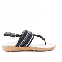 Sandale noire à strass