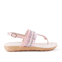 Sandale rose à strass