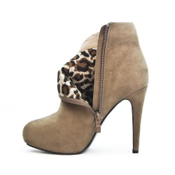 Taupe boot with stiletto heel