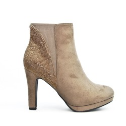Taupe boot with rhinestones