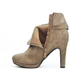 Taupe ankle boot in faux suede with a rhinestone detail