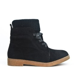 Black ankle boot in faux suede with lace