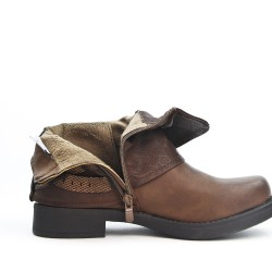 Brown leather ankle boot with buckled bridle