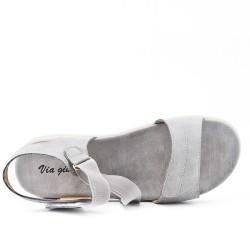 Sandale confort grise avec élastique