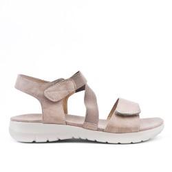 Sandale confort taupe avec élastique