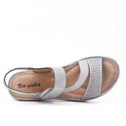 Sandale confort grise à petit compensé