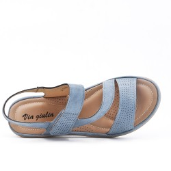 Sandale confort bleu à petit compensé