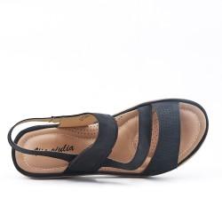 Sandale confort noire à petit compensé