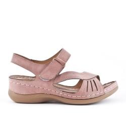 Sandale confort rose en simili cuir