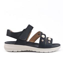 Sandale confort noire ornée de perle