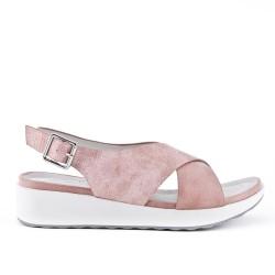 Sandale confort rose à brides croisées