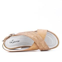 Sandale confort camel à brides croisées