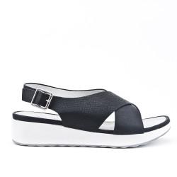Sandale confort noire à brides croisées