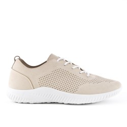Beige perforated sneaker with lace