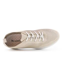 Basket perforée beige à lacet