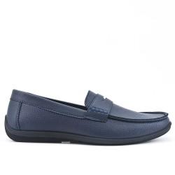 Blue imitation leather moccasin