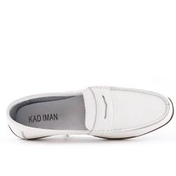 White imitation leather moccasin