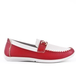 Two-tone faux leather moccasin