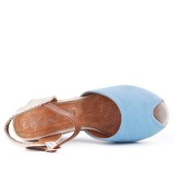 Sandale compensée bleu à semelle espadrille