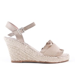 Sandale compensée beige à semelle espadrille