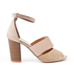 Sandale beige à talon effet bois