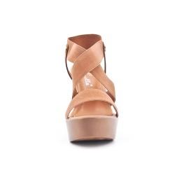 Sandale camel à élastique