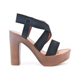 Sandale noire à élastique