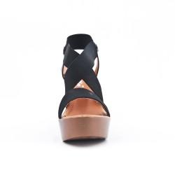 Black elastic sandal