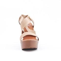 Sandale beige à élastique