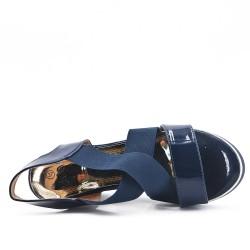 Sandale compensée bleu à élastique