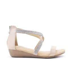 Sandale beige ornée de strass