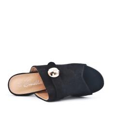 Claquette noire en simili daim à talon