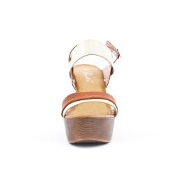 Sandale camel à plateforme