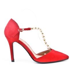 Sandale rouge à perle